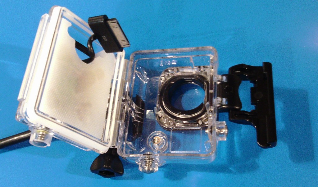 GoPro Battery Eliminator waterproof housing, with our LongShot electronics embedded into the white bezel.  LongShot GoPro Battery Eliminator | GoPro G4 HD LSG4 iso open3 1024x603
